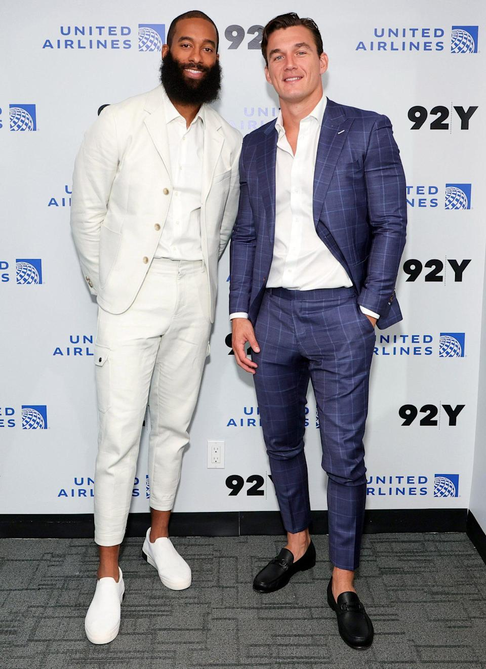 <p>Matt James and Tyler Cameron arrive for the <em>You Deserve Better</em> conversation at the 92nd Street Y on July 28 in N.Y.C.</p>