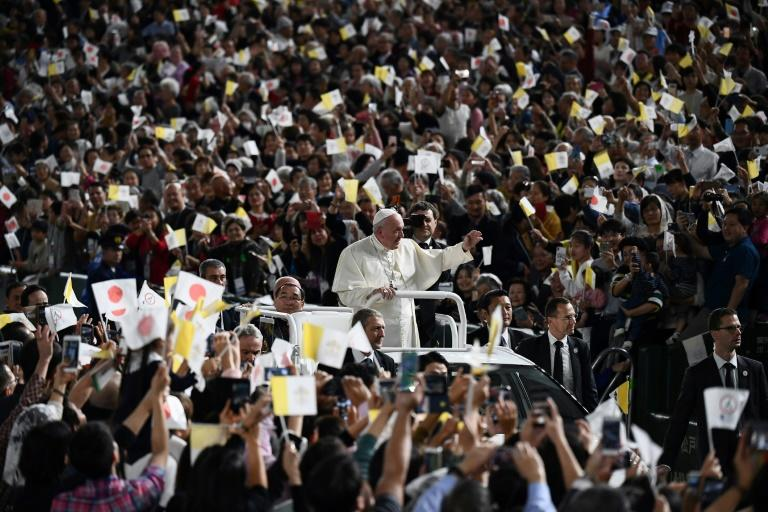 Tens of thousands of people packed into the Tokyo Dome stadium for a Mass given by Pope Francis