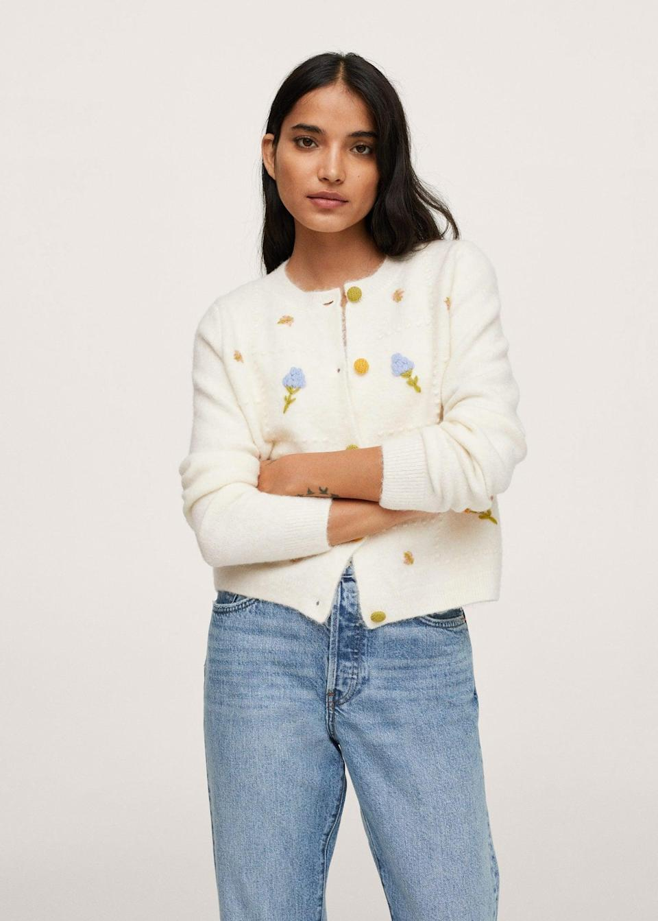 <p>This <span>Mango Flowers Knit Cardigan</span> ($56, originally $80) looks so charming and fun. If you're still iffy about adding color to your daily rotation, it's a fun way to start.</p>
