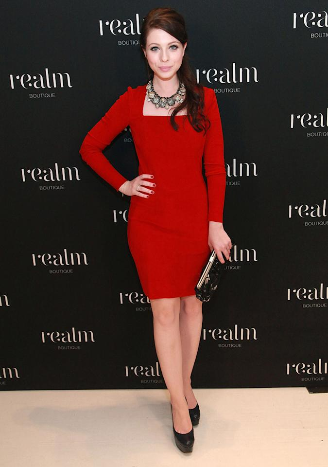 """Michelle Trachtenberg was the lady in red at Realm's celebration of Fashion's Night Out. Astrid Stawiarz/<a href=""""http://www.gettyimages.com/"""" target=""""new"""">GettyImages.com</a> - September 8, 2011"""