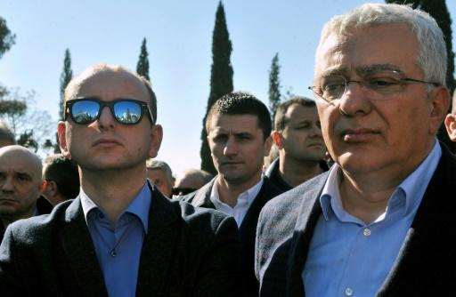 The defendants include two leaders of a pro-Russian opposition coalition, Milan Knezevic (L) and Andrija Mandic (R) of the Democratic Front