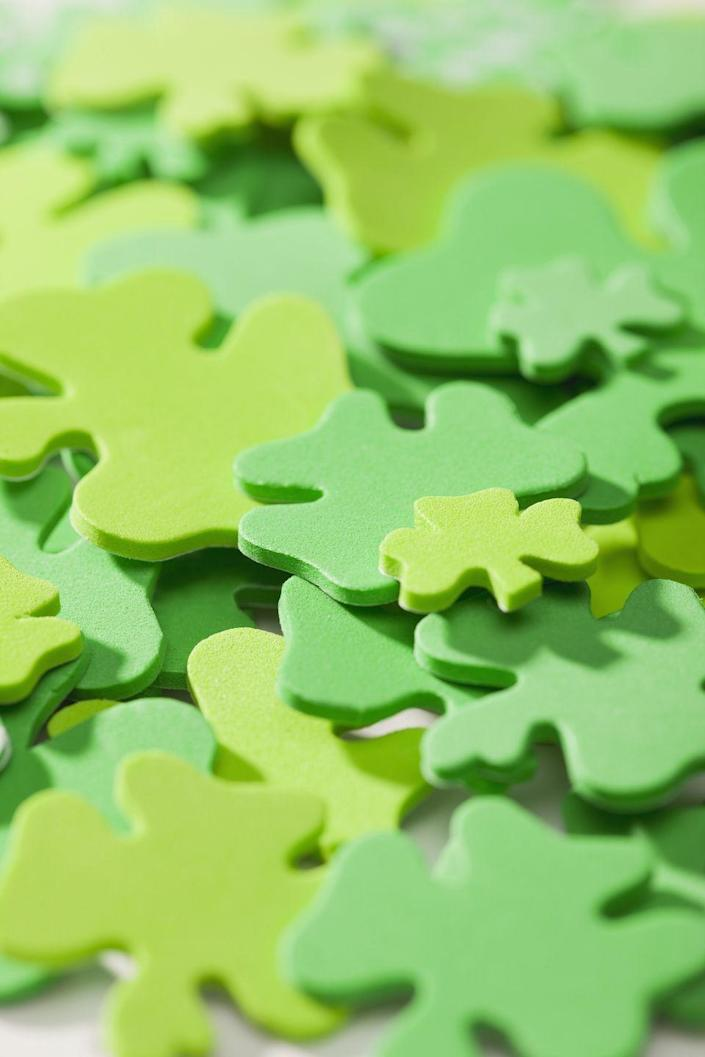 """<p>There's always time to play a <a href=""""https://www.goodhousekeeping.com/holidays/g5020/st-patricks-day-games/"""" rel=""""nofollow noopener"""" target=""""_blank"""" data-ylk=""""slk:St. Patrick's Day-themed game"""" class=""""link rapid-noclick-resp"""">St. Patrick's Day-themed game</a>. Try your luck at shamrock bingo, a rainbow coin toss or even """"pin the clover on the leprechaun."""" Don't forget to prepare some prizes!</p>"""