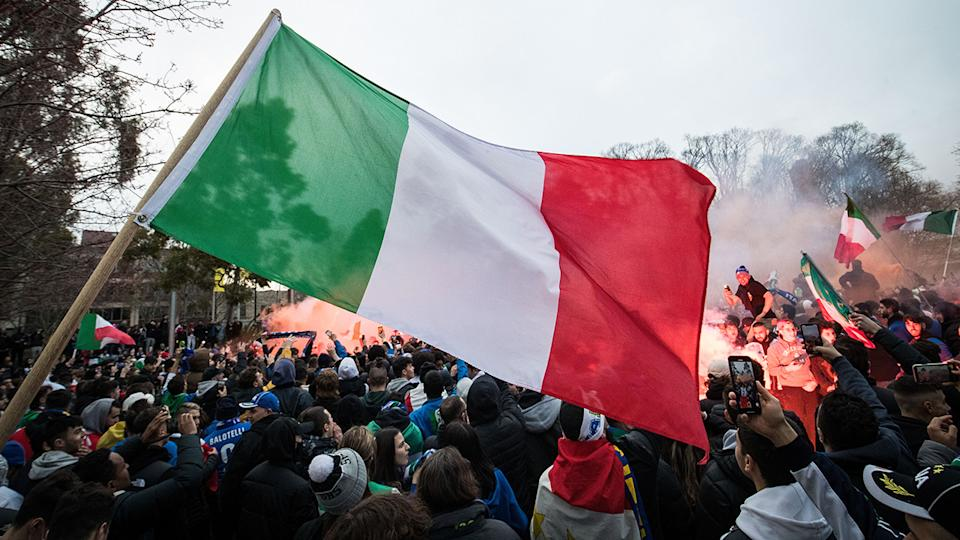Italian fans, pictured here celebrating on Lygon Street in Melbourne after the Euro 2020 final.