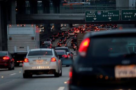 FILE PHOTO: Morning commuters travel in rush hour traffic toward Los Angeles, California