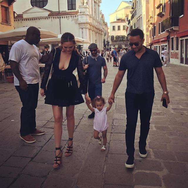 "<p>Now that's one good-looking family! Sandwiched between her parents, 16-month-old Luna enjoyed a walk down the cobblestone streets during her first Italian vacation. (Photo: <a href=""https://www.instagram.com/p/BXievsClsRu/?taken-by=chrissyteigen"" rel=""nofollow noopener"" target=""_blank"" data-ylk=""slk:Chrissy Teigen via Instagram"" class=""link rapid-noclick-resp"">Chrissy Teigen via Instagram</a>)<br><br></p>"