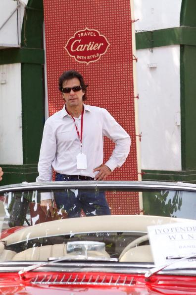 MUMBAI (BOMBAY), INDIA - NOVEMBER 01: Former Captain of Pakistan Cricket Team Imran Khan  attends the 'Travel With Style' Concours at Royal Western India Turf Club on November 1, 2008 in Mumbai (Bombay), India. (Photo by Chirag Wakaskar/Getty Images for Cartier International)