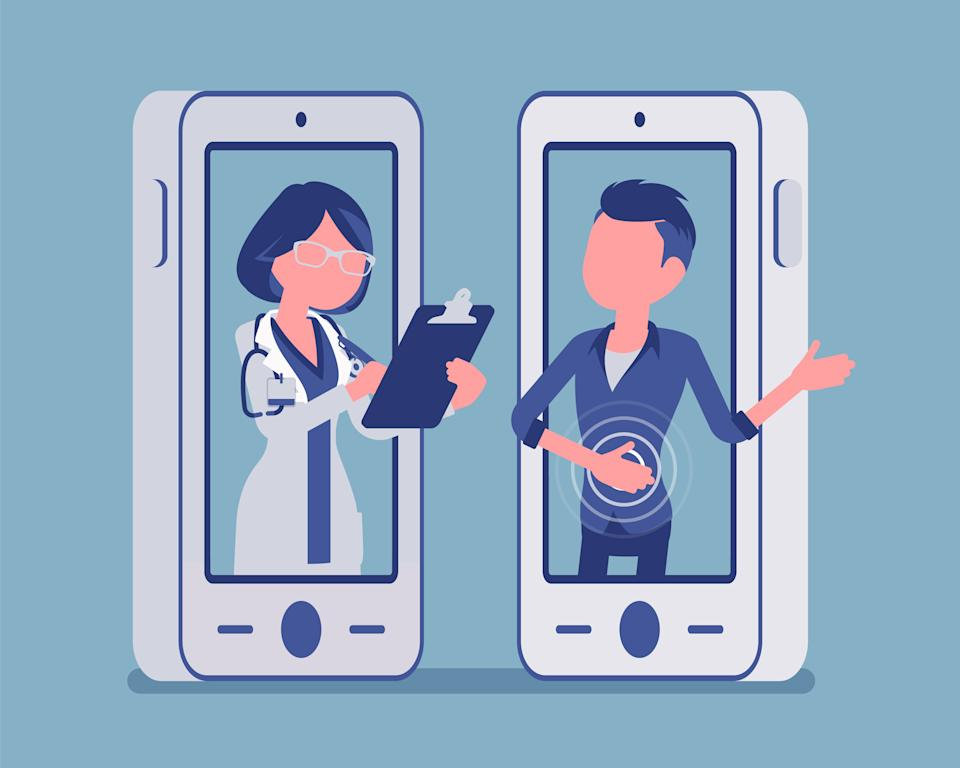 Mobile telemedicine smartphone application, female doctor. Useful mobile device tool for managing healthcare service, patient remote professional consultation. Vector illustration, faceless characters