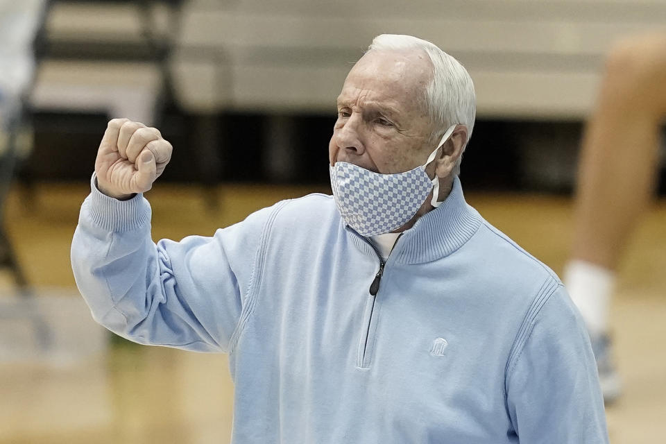 North Carolina head coach Roy Williams directs his team during the second half of an NCAA college basketball game against Wake Forest in Chapel Hill, N.C., Wednesday, Jan. 20, 2021. (AP Photo/Gerry Broome)
