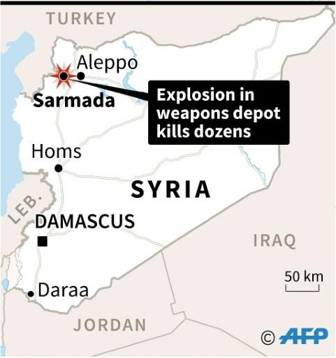 Map locating the town of Sarmada in northern Syria where dozens, including children, were killed Sunday in an explosion at a weapons depot