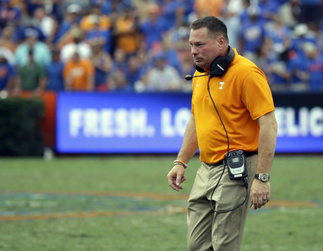 Tennessee head coach Butch Jones failed to explain a baffling sequence during Florida's win. (AP Photo/John Raoux)