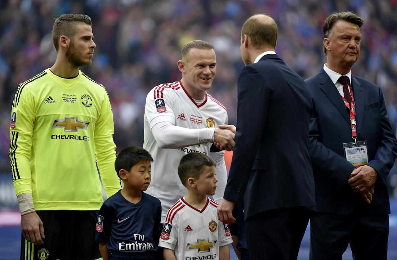 """Britain Football Soccer - Crystal Palace v Manchester United - FA Cup Final - Wembley Stadium - 21/5/16 Prince William and Manchester United's Wayne Rooney shake hands Reuters / Toby Melville Livepic EDITORIAL USE ONLY. No use with unauthorized audio, video, data, fixture lists, club/league logos or """"live"""" services. Online in-match use limited to 45 images, no video emulation. No use in betting, games or single club/league/player publications.  Please contact your account representative for further details."""