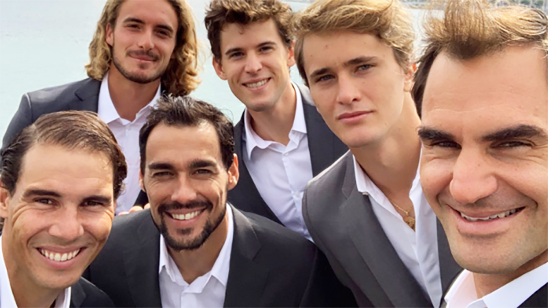 Roger Federer, pictured here with Rafael Nadal, Stefanos Tsitsipas, Fabio Fognini, Dominic Thiem and Alexander Zverev.