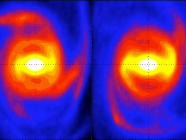 Snapshots from a Milky Way galaxy simulation (Image Source: T. Hilmi/University of Surrey)