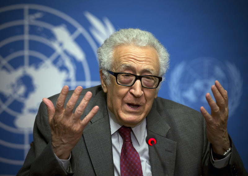 FILE - In this Jan. 27, 2014 file photo, U.N. mediator Lakhdar Brahimi listens during a press briefing at the United Nations headquarters in Geneva, Switzerland. Brahimi will resign as the joint U.N.-Arab League envoy on Syria after a nearly two-year effort that failed to bring peace to the war-ravaged country, the U.N. chief announced Tuesday, May 13, 2014. He will step down May 31. (AP Photo/Anja Niedringhaus, File)