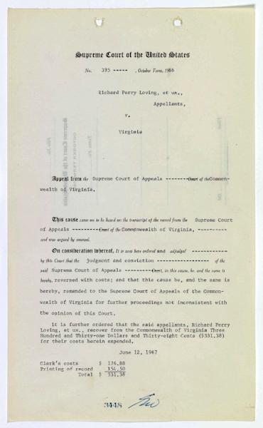A US Supreme Court document on the interracial marriage of Richard and Mildred Loving on June 12, 1967 (AFP Photo/)