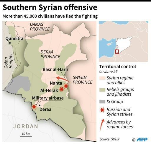 Map of Syria locating Deraa province, and showing control zones, strikes and advances by regime forces