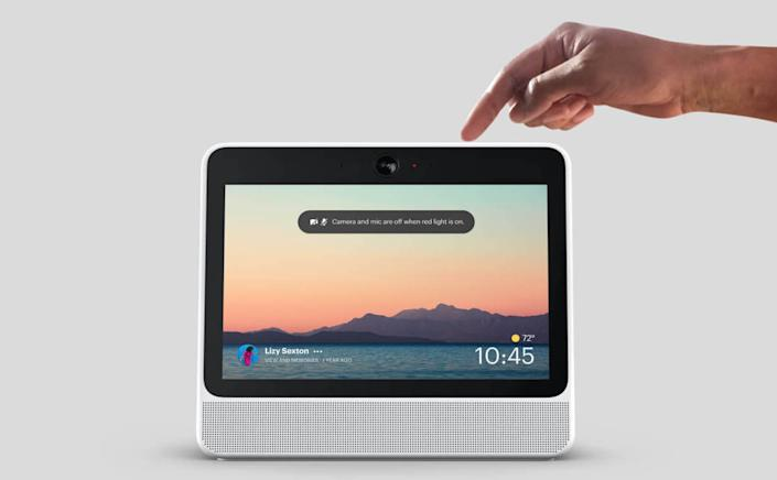 Portal from Facebook lets you disable the camera and microphone with a single tap, or block the camera lens with the included camera cover.