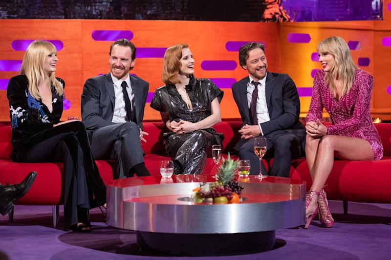 (left to right) Sophie Turner, Michael Fassbender, Jessica Chastain, James McAvoy and Taylor Swift during the filming of the Graham Norton Show at BBC Studioworks 6, Television Centre, Wood Lane, London, to be aired on BBC One on Friday evening. (Photo by Matt Crossick/PA Images via Getty Images)