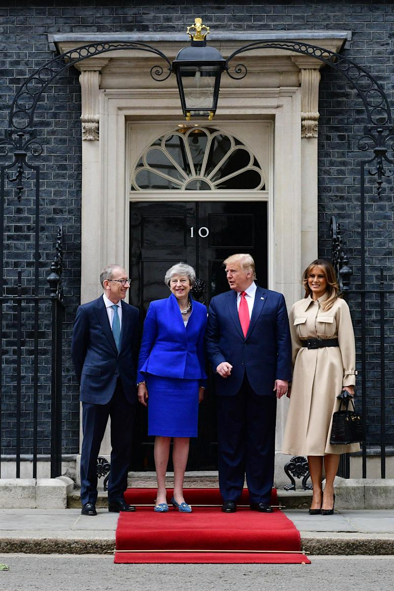 Prime Minister Theresa May and husband Philip May welcome US President Donald Trump and First Lady Melania Trump to 10 Downing Street (Getty Images)