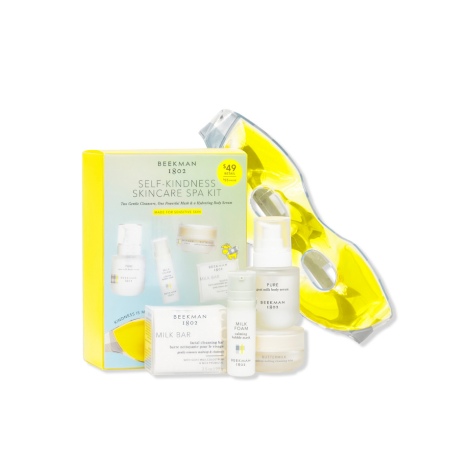 """I've always been a fan of Beekman 1802's line of super-gentle, goat milk-based skincare, and this new kit is no exception. It has minis of the body serum, bubble mask, facial cleansing bar, and cleansing balm—four things that you won't find in a hotel toiletry lineup—making it perfect for the many out-of-town weddings in my near future. —<em>Deanna Pai, acting commerce editor</em> $49, Ulta. <a href=""""https://shop-links.co/1750575626233006977"""" rel=""""nofollow noopener"""" target=""""_blank"""" data-ylk=""""slk:Get it now!"""" class=""""link rapid-noclick-resp"""">Get it now!</a>"""