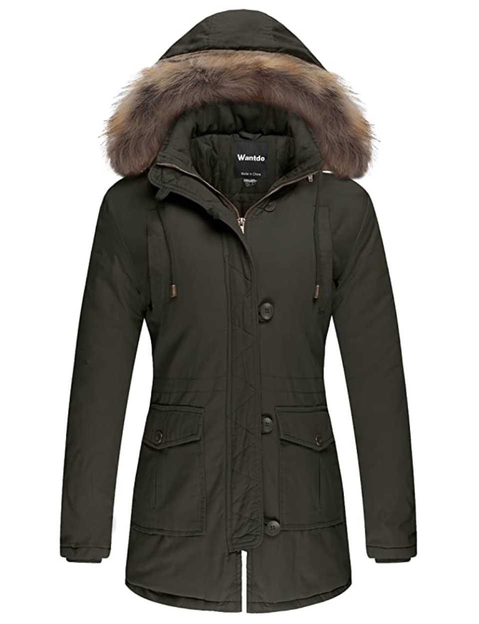 Wantdo Women's Winter Jacket Faux Fur Trim Parka Coat. Image via Amazon.
