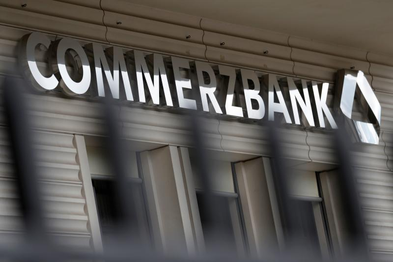 The logo of German bank Commerzbank can be seen at a branch of the bank in Berlin on May 13, 2020. - Germany's second-largest lender Commerzbank sank into a loss in the first quarter as it took a hit of 479 million euros over the coronavirus pandemic, it said Wednesday, May 13, 2020. (Photo by Odd ANDERSEN / AFP) (Photo by ODD ANDERSEN/AFP via Getty Images)