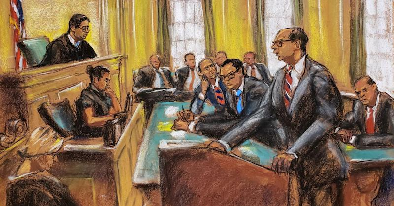 U.S. District Judge Edgardo Ramos (L) is shown in this court room sketch during a hearing where he ruled that Deutsche Bank AG and Capital One Financial Corp must comply with subpoenas issued to them by two U.S. House of Representatives committees to provide financial records to lawmakers investigating U.S. President Donald Trump's businesses, in Manhattan Federal Court in New York City, U.S. May 22, 2019.