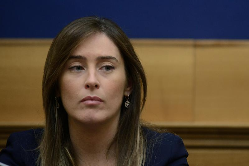 ROME, ITALY - APRIL 03: Maria Elena Boschi attends a press conference to ask for justice for the families of seven female Italian exchange students on the Erasmus programme, who died in a bus accident near Freginals in Spain 3 years ago, on April 3, 2019 in Rome, Italy. The seven girls were among 13 who were killed when a bus carrying 57 Erasmus students from several countries crashed on a Spanish motorway as they returned to Barcelona from a firework festival in Valencia. (Photo by Simona Granati - Corbis/Getty Images)