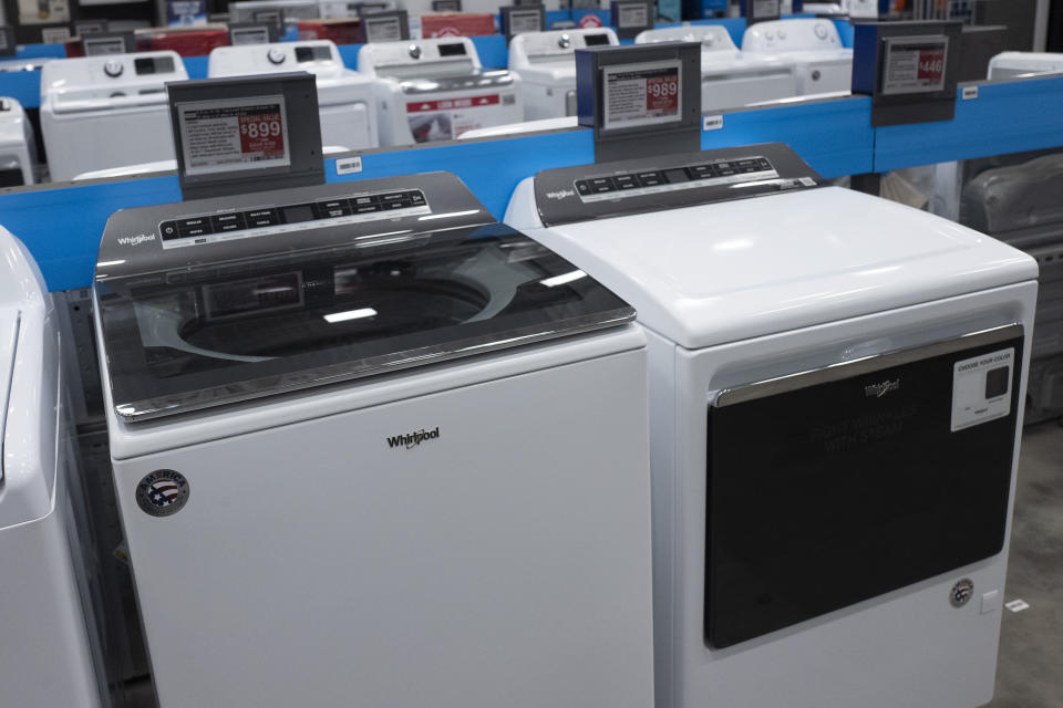 Whirlpool washing machines are displayed, Wednesday, April 21, 2021 in New York. (AP Photo/Mark Lennihan)