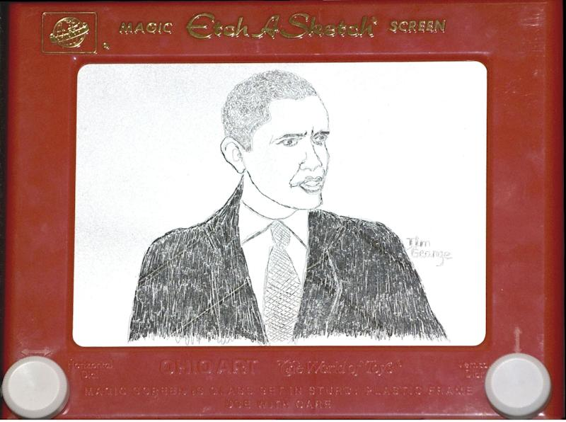 FILE - A Nov. 5, 2008 file photo shows an Etch A Sketch portrait of President Elect Barack Obama, that was unveiled as the results of the presidential election were announced. Etch A Sketch is suddenly drawing lots of attention, thanks to a gaffe that has shaken up Mitt Romney's campaign. Ohio Art, the maker of the classic baby boomer toy, says it's sending a big box of Etch A Sketches to the presidential campaigns to say thanks for the publicity and a boost in sales.    (AP Photo//The Ohio Art Company, Ellen Dallager, File)