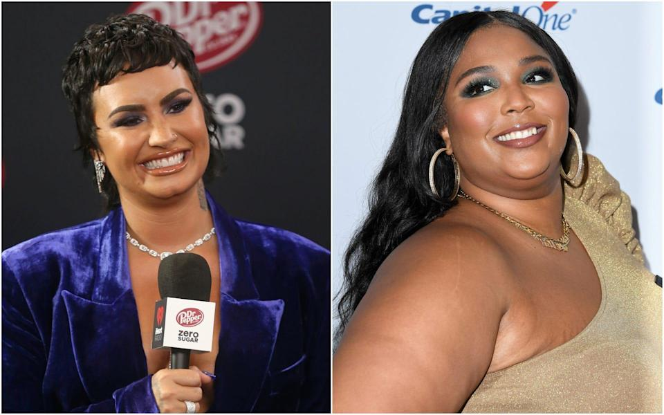 Lizzo (R) quickly – and emphatically – corrected a paparazzoin a video posted earlier this month after he misgendered Demi Lovato (L).