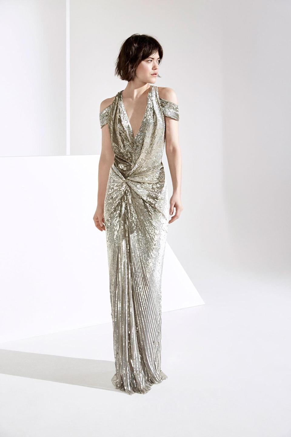 <p>A silver sequined dress from the Jenny Packham FW18 collection. (Photo: Courtesy of Jenny Packham) </p>