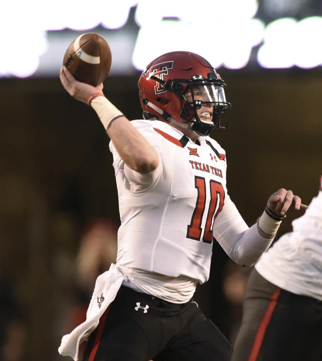 Texas Tech quarterback Alan Bowman throws a pass during the first half of an NCAA college football game against Oklahoma State in Stillwater, Okla., Saturday, Sept. 22, 2018. (AP Photo/Brody Schmidt)