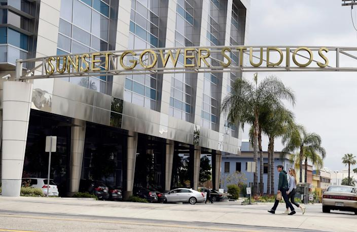 """The entrance to Sunset Gower Studios, where a member of the """"Me Time"""" production crew was critically injured in a fall on Tuesday."""