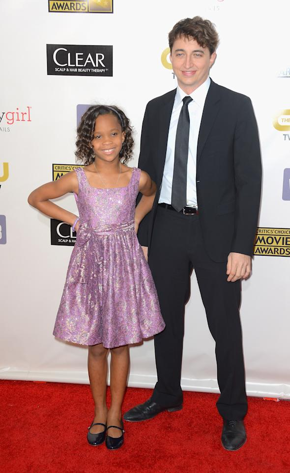 SANTA MONICA, CA - JANUARY 10:  Actress Quvenzhané Wallis and director Benh Zeitlin arrives at the 18th Annual Critics' Choice Movie Awards at Barker Hangar on January 10, 2013 in Santa Monica, California.  (Photo by Frazer Harrison/Getty Images)