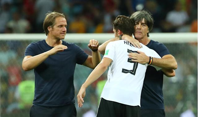 Soccer Football - World Cup - Group F - Germany vs Sweden - Fisht Stadium, Sochi, Russia - June 23, 2018 Germany's Jonas Hector celebrates after the match with coach Joachim Low REUTERS/Michael Dalder