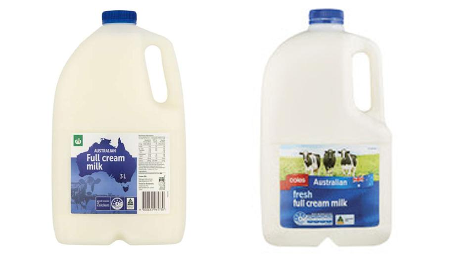 Woolworths and Coles home brand 3L milk cartons appear very similar to the untrained eye, but there are some subtle differences. Source: Supplied