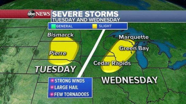 PHOTO: Severe storms are likely Tuesday and Wednesday in the Upper Midwest. (ABC News)