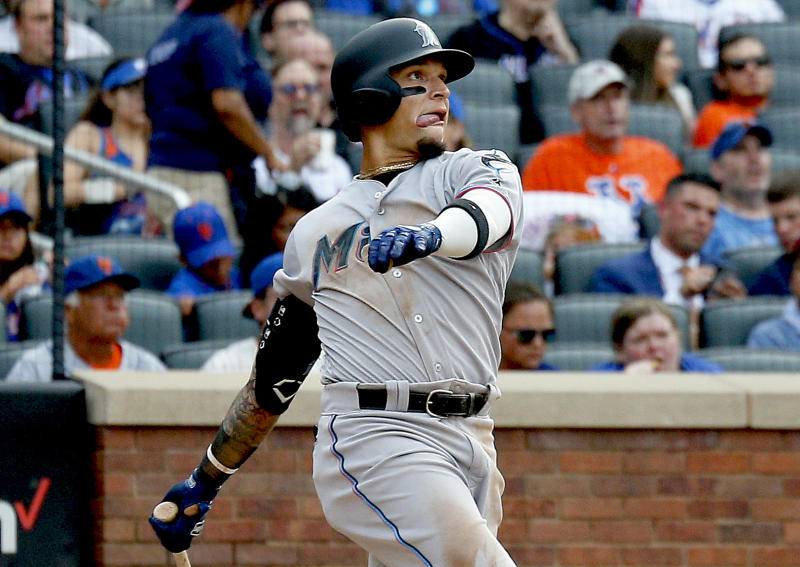 Aug 5, 2019; New York City, NY, USA; Miami Marlins second baseman Isan Diaz (1) hits a solo home run his first major league hit against the New York Mets during the sixth inning of game one of a doubleheader at CitiField. Mandatory Credit: Andy Marlin-USA TODAY Sports