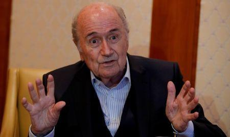 FILE PHOTO: Former FIFA President Sepp Blatter gestures during an interview with Reuters in Zurich, Switzerland April 10, 2018. Picture taken April 10, 2018. REUTERS/Arnd Wiegmann/File Photo