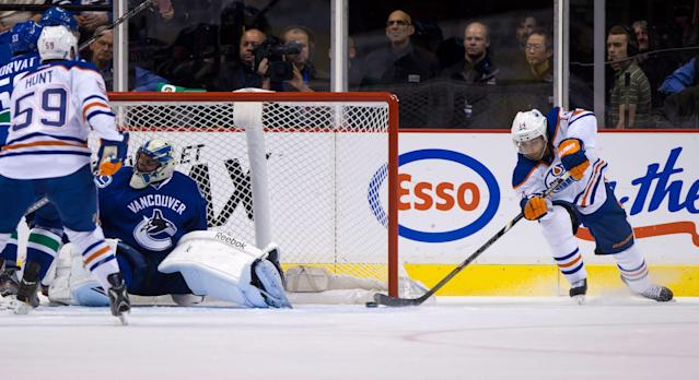 Edmonton Oilers' Jordan Eberle, right, scores a goal as Vancouver Canucks goalie Roberto Luongo gets caught out of position during the first period of a preseason NHL hockey game Wednesday, Sept. 18, 2013, in Vancouver, British Columbia. (AP Photo/The Canadian Press, Darryl Dyck)