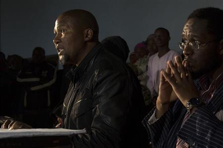 Mandla, grandson of Nelson Mandela, talks to journalists during a news conference in Mvezo