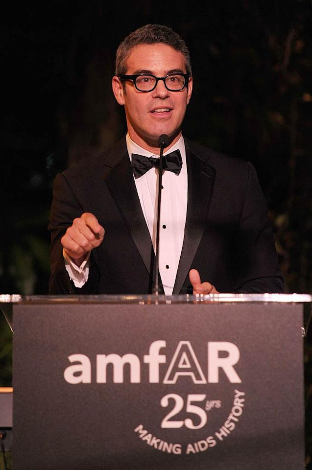 Bravo's Andy Cohen served as host of the black tie event, which honored late amFAR founder Elizabeth Taylor. (10/27/2011)