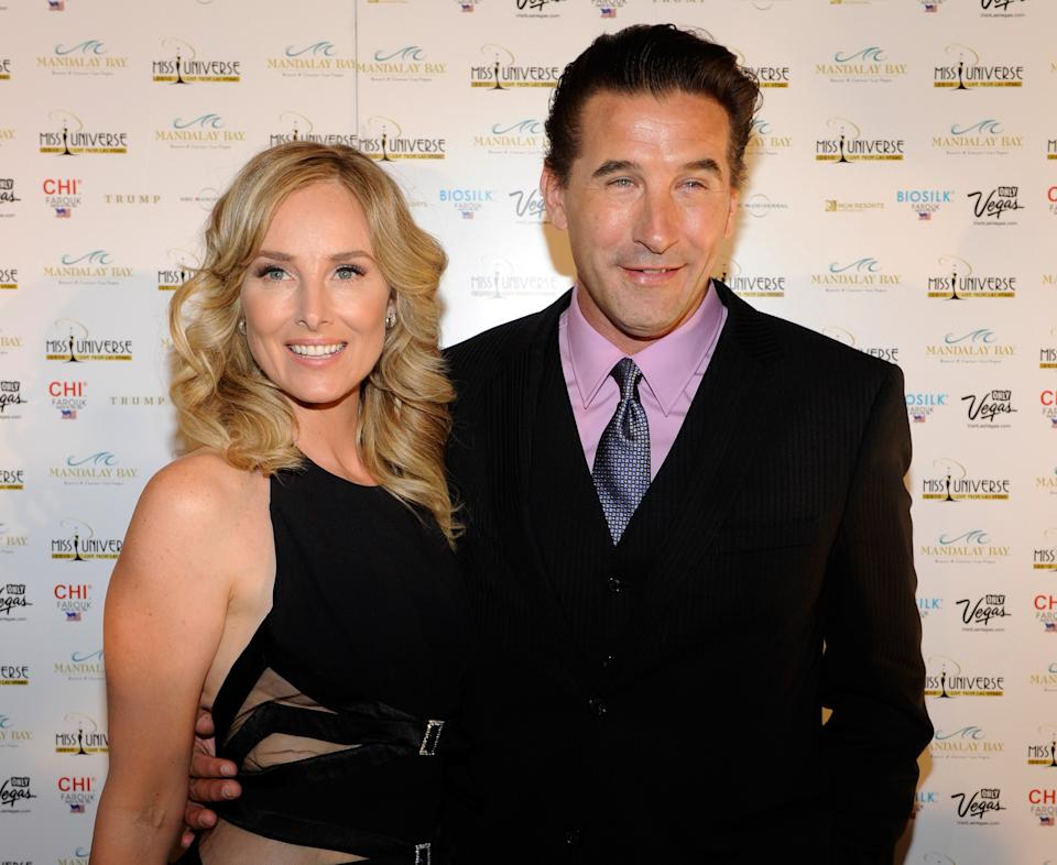LAS VEGAS - AUGUST 23:  Actress/singer Chynna Phillips (L) and her husband, actor WIlliam Baldwin, arrive at the 2010 Miss Universe Pageant at the Mandalay Bay Events Center August 23, 2010 in Las Vegas, Nevada.  (Photo by Ethan Miller/Getty Images)