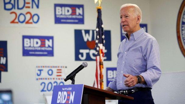 PHOTO: Former Vice President and Democratic presidential candidate Joe Biden speaks at a campaign event in an electrical workers union hall, July 20, 2019, in Las Vegas. (John Locher/AP)