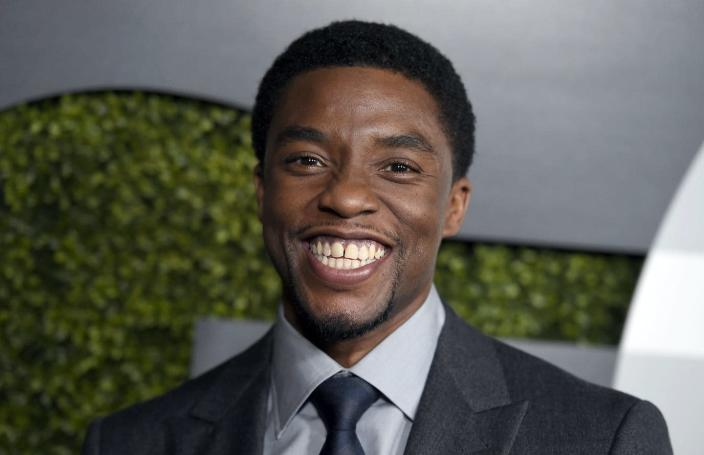"""<span class=""""caption"""">Actor Chadwick Boseman at the GQ Men of the Year party at the Chateau Marmont in Los Angeles, Dec. 3, 2015. </span> <span class=""""attribution""""><a class=""""link rapid-noclick-resp"""" href=""""https://newsroom.ap.org/detail/GQMenoftheYearParty/5d0f008fb8934440a30e83ce2614fddb/photo?Query=chadwick%20AND%20boseman&mediaType=photo&sortBy=&dateRange=Anytime&totalCount=849&currentItemNo=4"""" rel=""""nofollow noopener"""" target=""""_blank"""" data-ylk=""""slk:Jordan Strauss/Invision/AP"""">Jordan Strauss/Invision/AP</a></span>"""