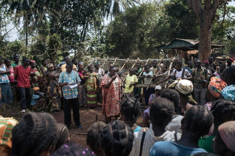 Pierrette Benguere, the head of Mbomou prefecture, speaks to those displaced from Bangassou by the violence