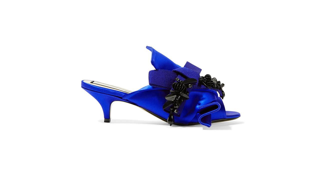 """<p>Embellished knotted satin mules, $725, <a rel=""""nofollow"""" href=""""https://www.net-a-porter.com/us/en/product/853457/No_21/embellished-knotted-satin-mules"""">net-a-porter.com</a> </p>"""