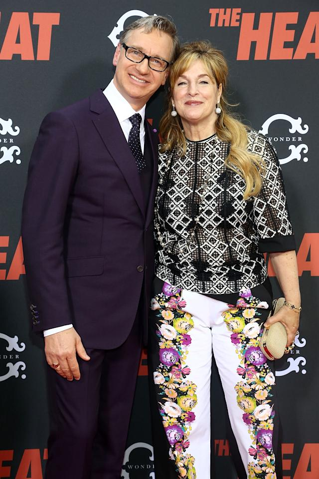 "NEW YORK, NY - JUNE 23: (L-R) Director Paul Feig and wife Laurie Karon attend ""The Heat"" New York Premiere at Ziegfeld Theatre on June 23, 2013 in New York City. (Photo by Astrid Stawiarz/Getty Images)"