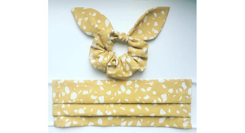 Face Mask & Bunny Bow Scrunchie Matching Set